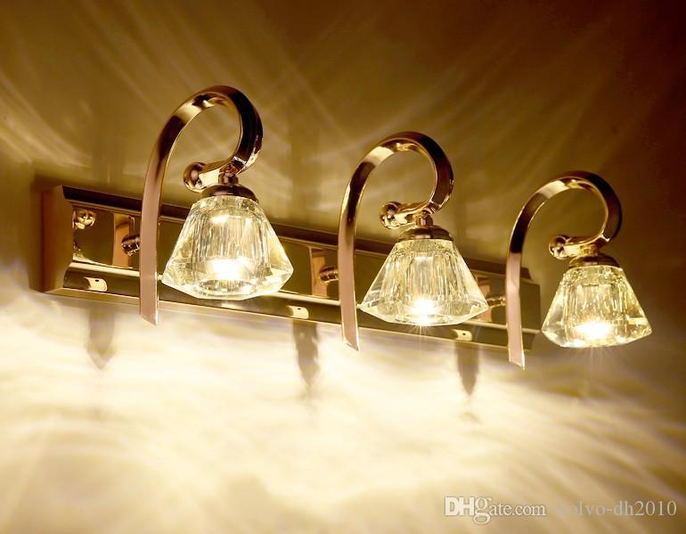 Modern Gold Crystal LED Mirror Lights Creative Fashion Bathroom Washroom Wall Sconces Dressing Room Wall Lamp LLFA