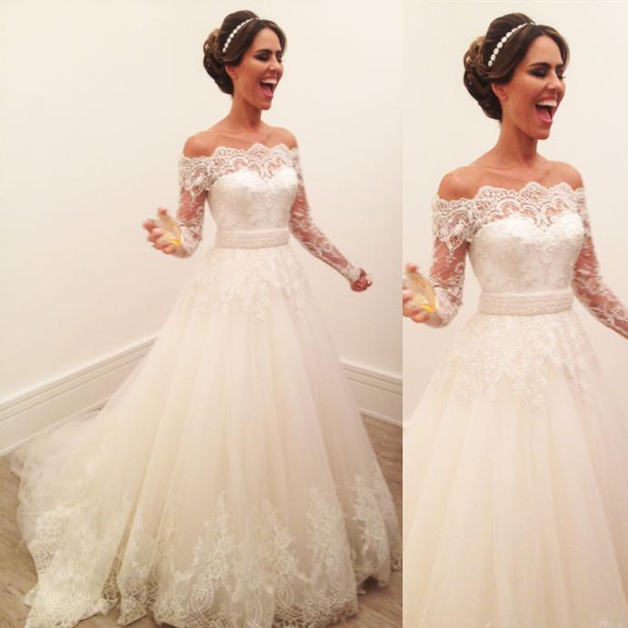 Элегантные платья венчания втулки шнурка с коротким рукавом Дешевые платья 2017 Robe De Mariee Sheer Line Bridal Handmade Бесплатная доставка Канада