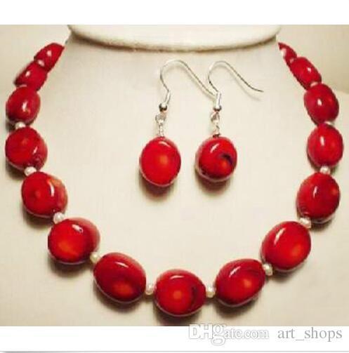 Bijoux fantaisie blanc Akoya perle collier de corail rouge boucles d'oreilles Set