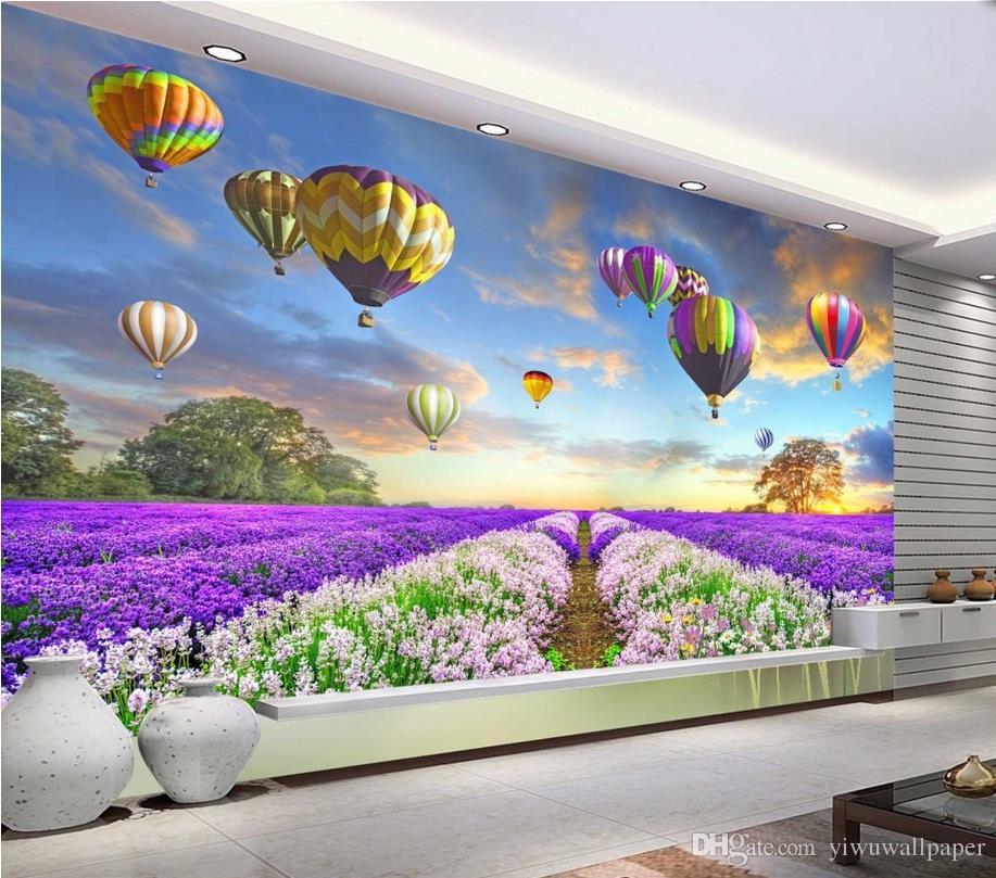 Luxus Europäische Moderne Lavendelblüten Hintergrund Tapeten 3D Wallpaper 3D-Tapeten für tv Hintergrund