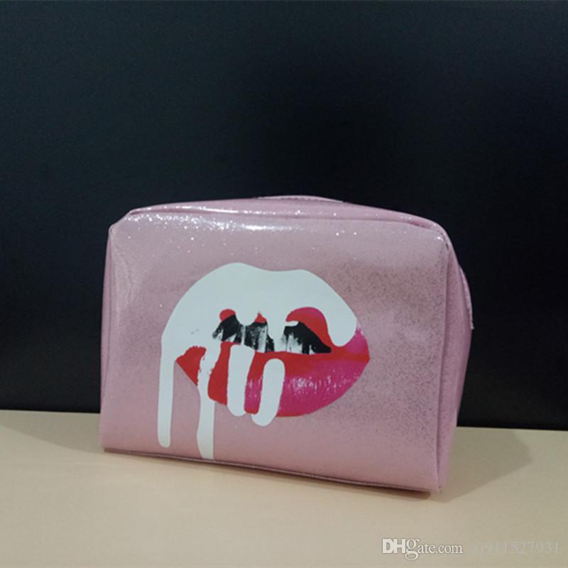 2018-time-limited ky010 zipper 2017 novo rosa de aniversário saco de maquiagem partido viagem cosméticos de alta qualidade pu lantejoulas mão deve ter grande capacidade