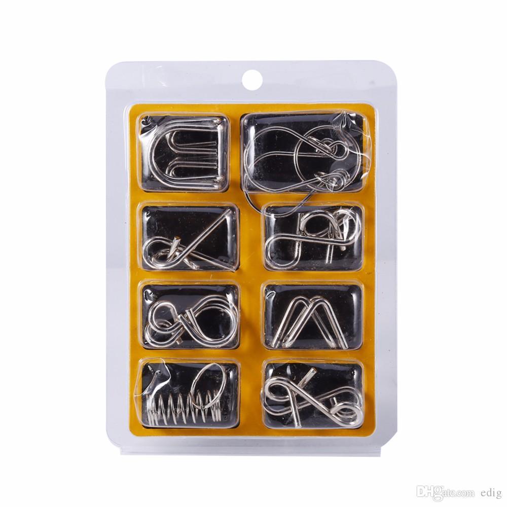 سلسلة حلقات 8PCS أسلاك معدنية لغز ماجيك اختبار الذكاء العقل لعبة الكبار الطفل لعبة أطفال كاردانو ل