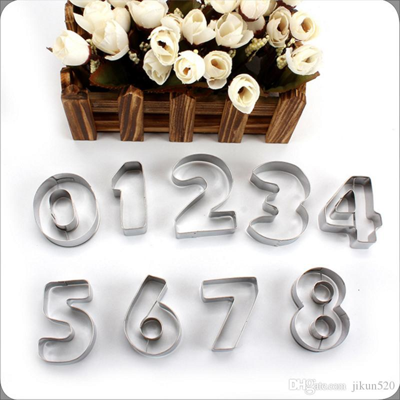 set of 9 Piece Alphabet Number Cookie Cutters Stainless Steel Cake Decorating Biscuit Fondant Icing Mould 9 Numerals Shapes Included