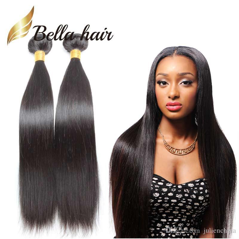 4pcs / mycket fulla huvudet rakt hår väft Obehandlat Peruvian Weaves Natural Color 9a förlängning