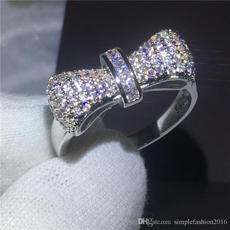Fashion Infinity Shape Bowknot Rhinestone Ring Rose Gold Wedding Ring Women Ring