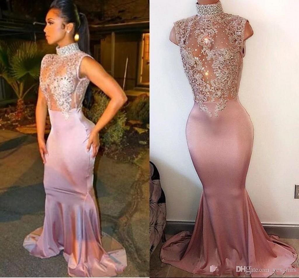 2018 sexy ilusão rosa 2k17 sereia vestidos de baile de alta neck mangas apliques de renda cristais de cetim africano menina negra longos vestidos de noite