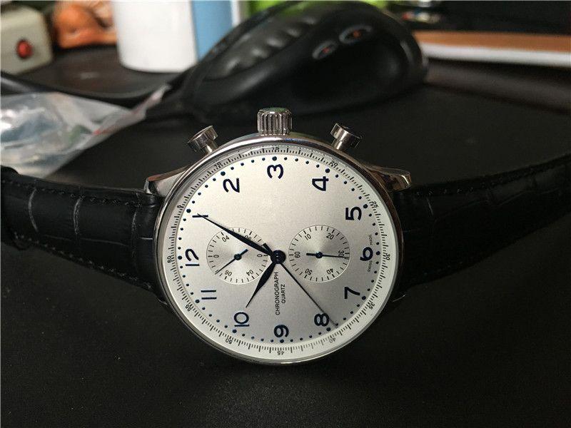 أعلى أزياء العلامة التجارية الكوارتز ساعات توقيت غير القابل للصدأ ، عالية الجودة والجلود الفرقة النمط الكلاسيكي الرجال كرونوغراف ساعة اليد W15