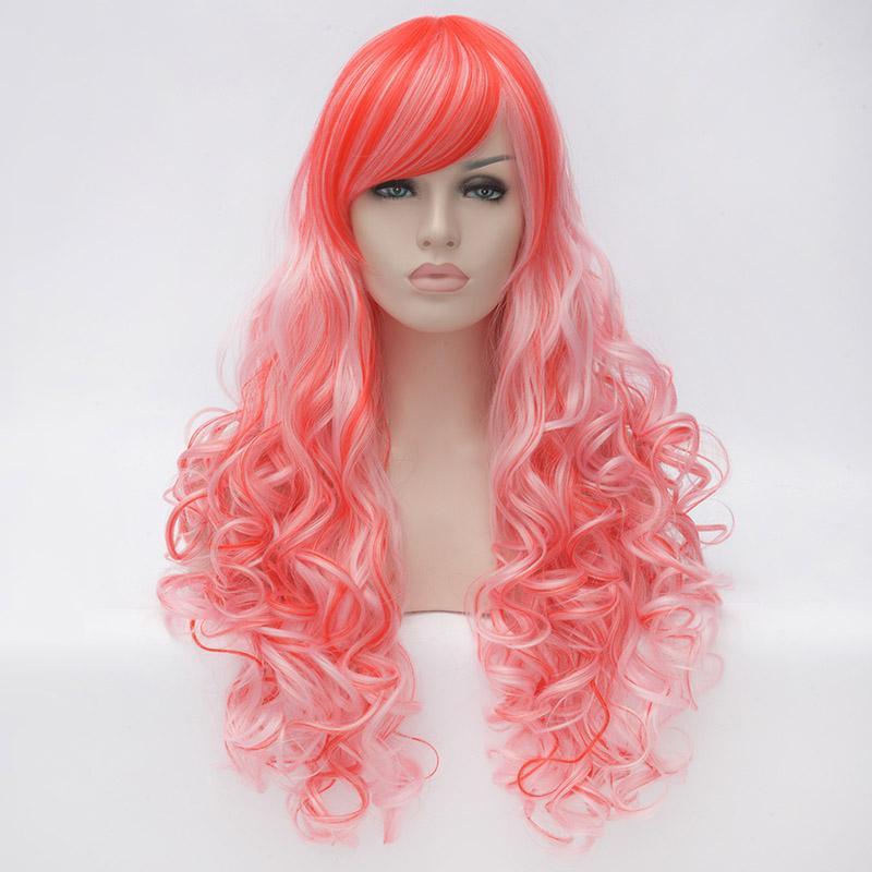 Rosa striato Lolita Long Ramp Bangs parrucca sintetica ondulata parrucca piena del partito resistente al calore Cosplay Peruca Feminina Peruca Perruque