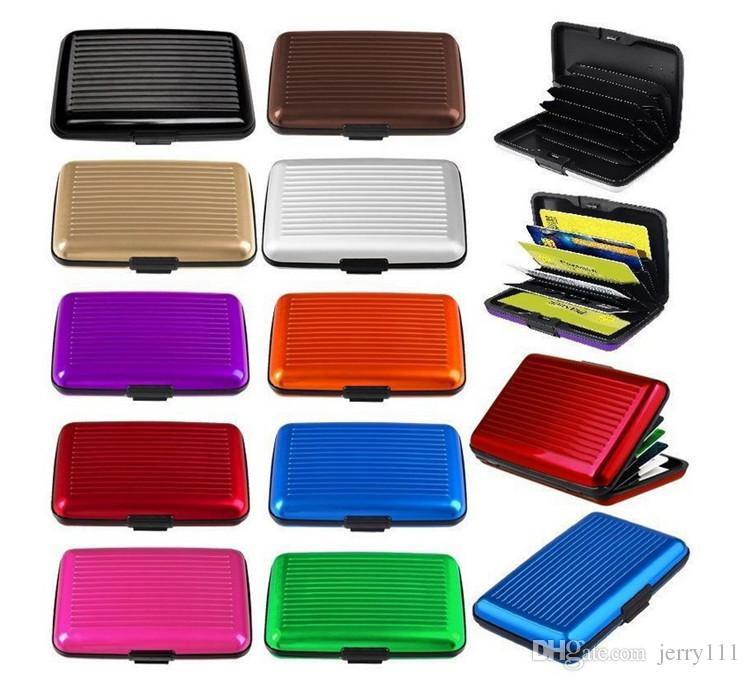 14 colors Aluminum Business ID Credit Card Wallet Waterproof RFID Card Holder Pocket Case Box Free shipping TA181