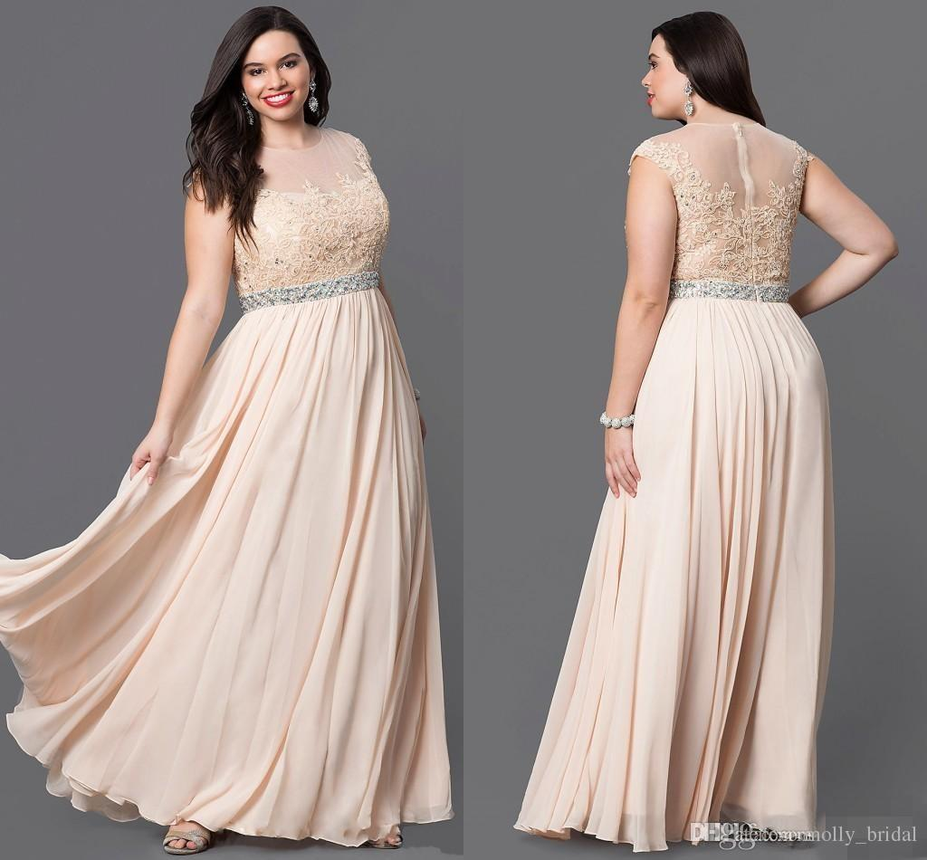 Plus Size Special Occasion Dresses Chiffon Gown Applique Sequin Dress Bling  Crystals Floor Length Sleeveless Zipper Back Cheap Price Plus Sizes ...