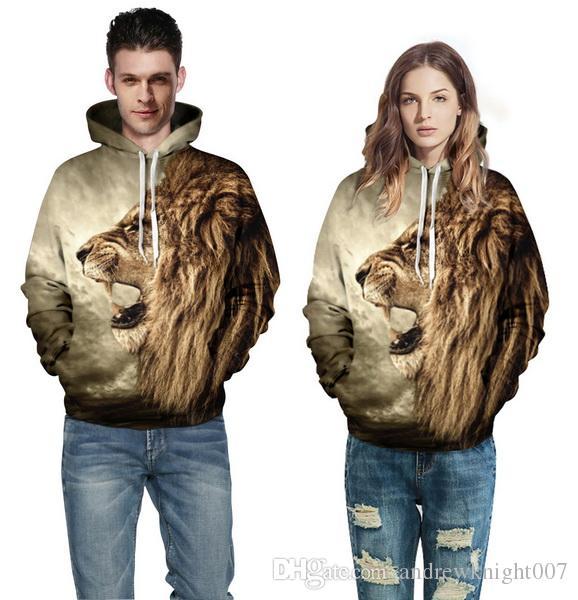 Зимние толстовки панк повседневная толстовка животные 3D печати Львиная голова тигр леопард хип-хоп пуловер Мужчины Женщины пальто уличная одежда толстовка
