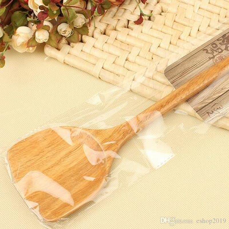 Long - handled wooden fried spoon do not stick pot special pot spatula Chinese - style wooden spoon anti - hot wood fried shovel kitchen woo