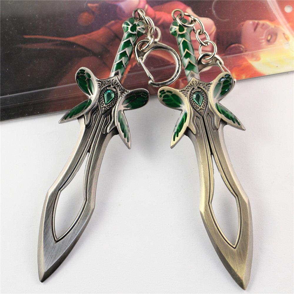 Toptan 12 adet / grup Dota 2 Kelebek Kılıç Silah Anahtarlık Metal Alaşım Anahtarlık Cosplay Takı Accesssory Boyutu 12 cm