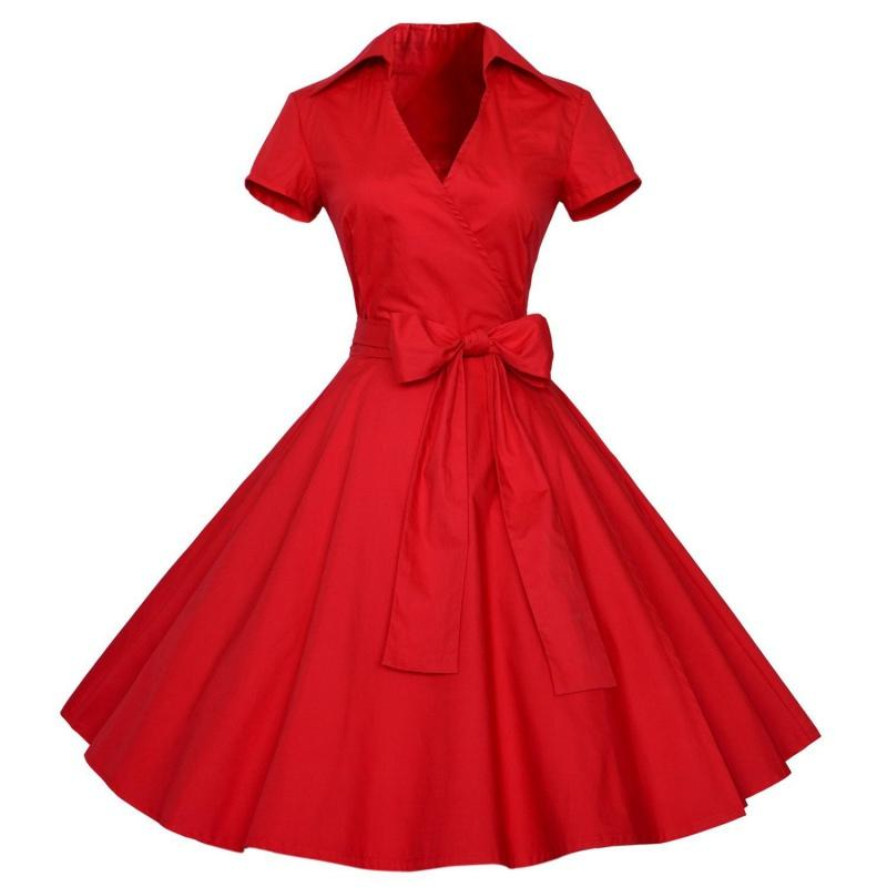 الجملة المبيعات الساخنة الصيف النساء 1950 ثانية الرجعية أودري هيبورن نمط الخامس الرقبة سوينغ التلبيب القميص روكابيلي اللباس pinup