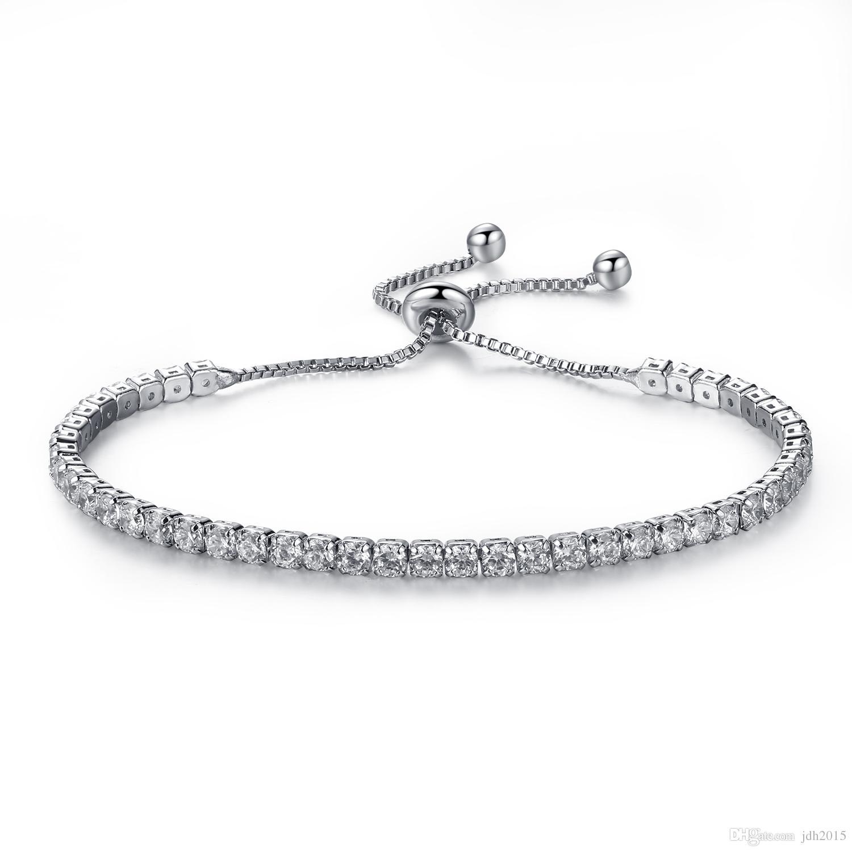 Elegant Platinum Plated Bezel Set Cubic Zirconia Tennis Adjustable Bracelet