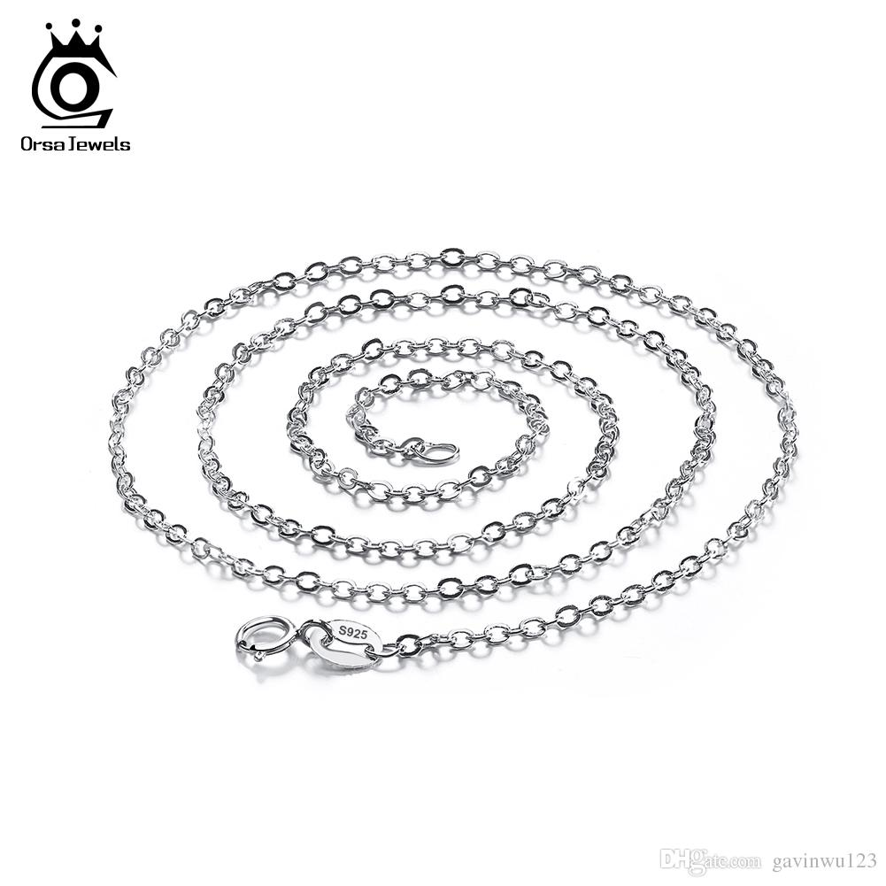 Chaînes de collier simples réglables fermoir de homard de mode d'ORSA Jewels, chaîne sans plomb de colliers d'argent libre de nickel 925 SC06