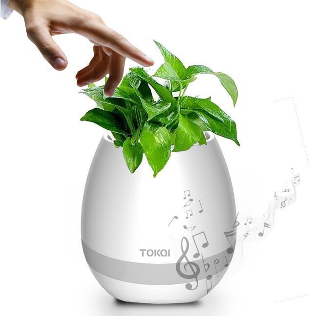 TOKQI Music Flower Pots Planters Bluetooth Smart Intelligent Touch Play Flowerpot Colorful Light Long Time Play Bass Speaker (NO logo)