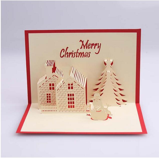 Christmas Greeting.New Creative Creative 3d Stereo Christmas Greeting Card Christmas House Blessing Card Christmas Invitation Card Birthday Card Template Birthday Cards