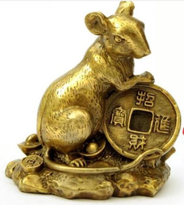جمع الأساطير الصينية زودياك تمثال صغير الماوس النحاس 7.5x4.5x8 سم