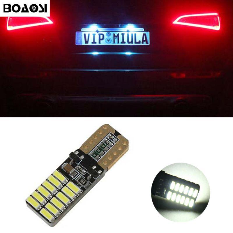 BOAOSI Canbus aucune erreur T10 LED plaque d'immatriculation de voiture allume des ampoules pour Peugeot 206 207 306 307 406 407 308 5008