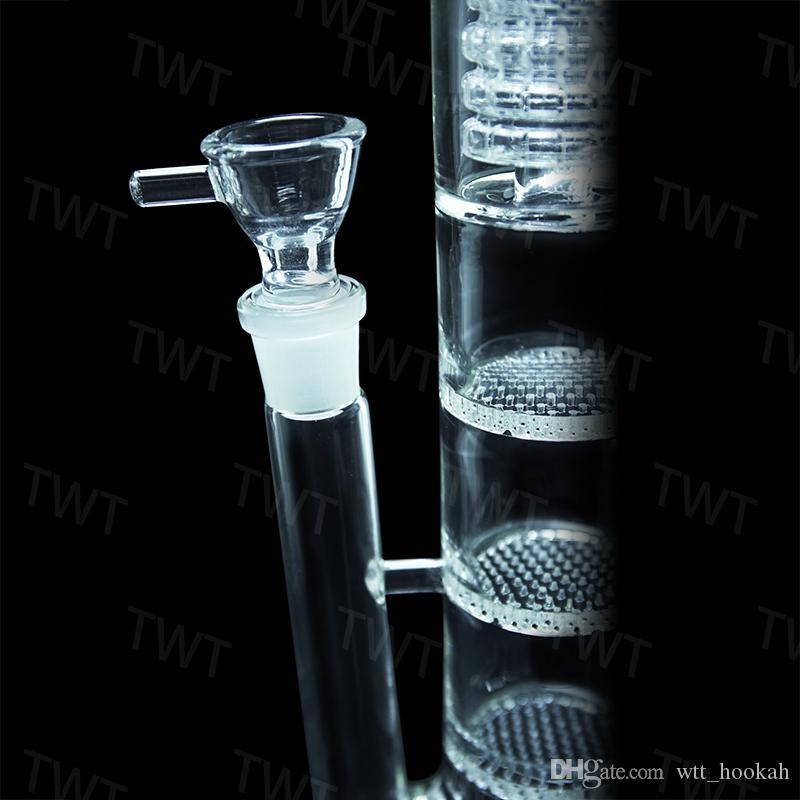 """Glass Bong water pipe 17"""" inches Straight pure Tree Perc glass water pipe with three Honeycomb Tire Percolator Brand Quality"""