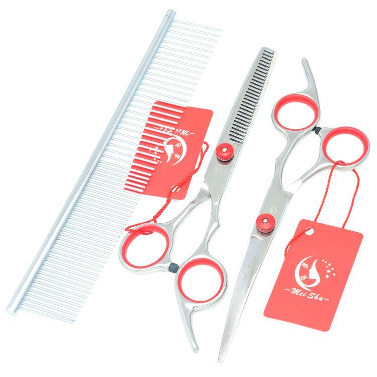 6.0Inch Meisha 2017 New Hair Cutting & Thinning & Curved Dog Shears Professional Pet Grooming Scissors Set & Case JP440C Pet Scissors,HB0001