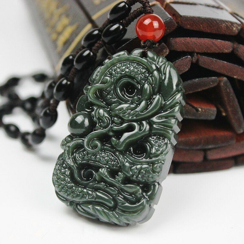 大展宏图-Free Necklace Eagle Natural Dark green Hand-carved Chinese Jade Pendant