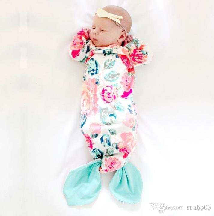 Ins New Infant Baby Mermaid Florals Swaddle Sleeping Bags Baby Boys Girls Baby Long Sleeve Cotton Cocoon Sleep Sack 13533