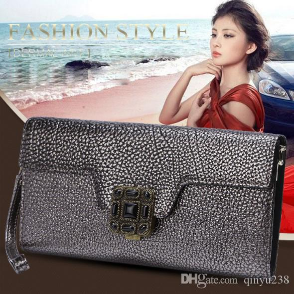 The new European and American style fashion elegant hand bag leather handbag chain single Shoulder crossbody Wallet