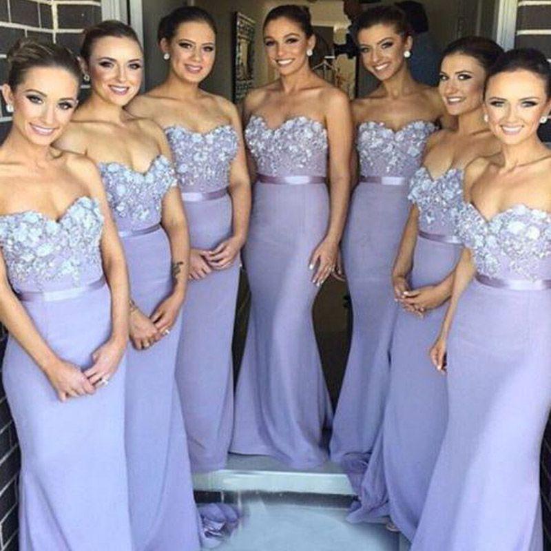 매력적인 라일락 신부 들러리 드레스 라벤더 인어 신부 들러리 드레스 긴 공식 웨딩 파티 연인 아플리케 탑 하녀 명예 가운