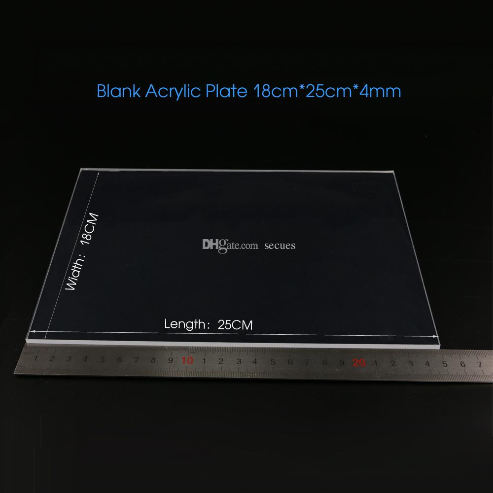 Blank Acrylic Plate 4mm for 3D LED Optical Lamp Rectangle 18cm Wide 25cm Long Wholesale Free Shipping