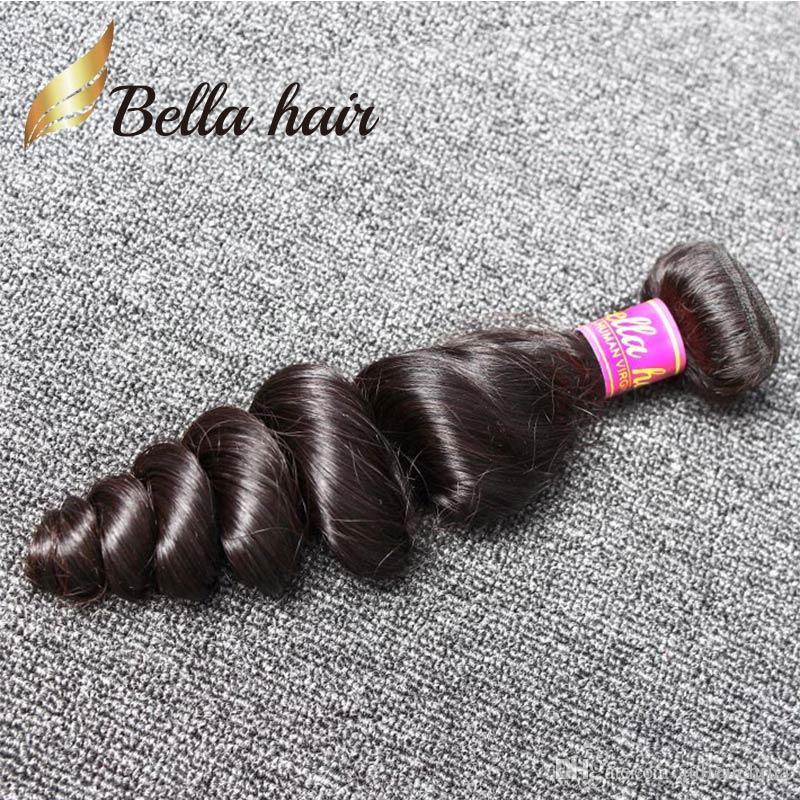 Bellahair® 9a brasiliansk hårväft 1pc / mycket mänsklig naturlig svart färglösning våg 1 bunt detaljhandel