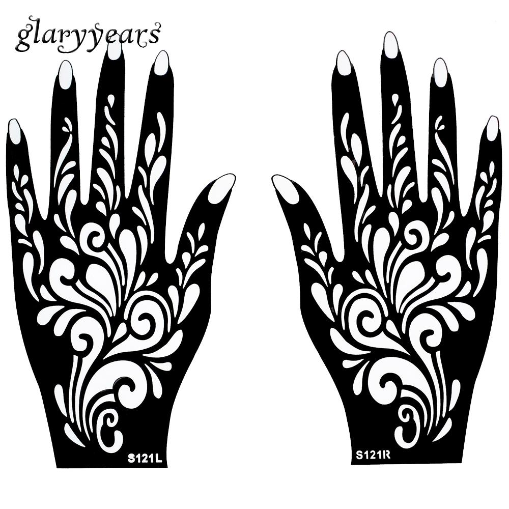 Wholesale-1 Pair Hands Mehndi Henna Tattoo Stencil Flower Pattern Design for Women Body Hand Art Painting Disposable 20cm * 11cm S121