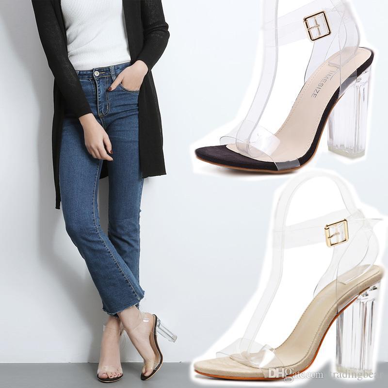 Transparente Schuhe Strap Clear Frauen prägnant Sandalen High Heel Knöchel mit Schnalle 2021 txope