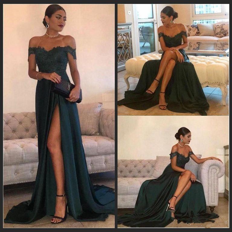 Dark Green 2018 Prom Dresses Off Shoulder Sexy Front Split Lace Appliques Long Elegant Evening Gowns Wears Vestidos De Fiesta