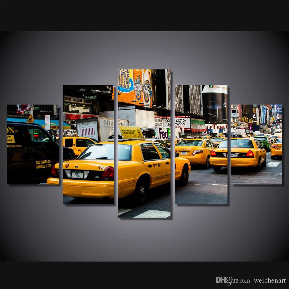 5 Paneli HD Baskılı New York Otobüs Poster Resim Tuval Wall Art Painting Baskı Tuval Odası Dekorasyon On Boyama