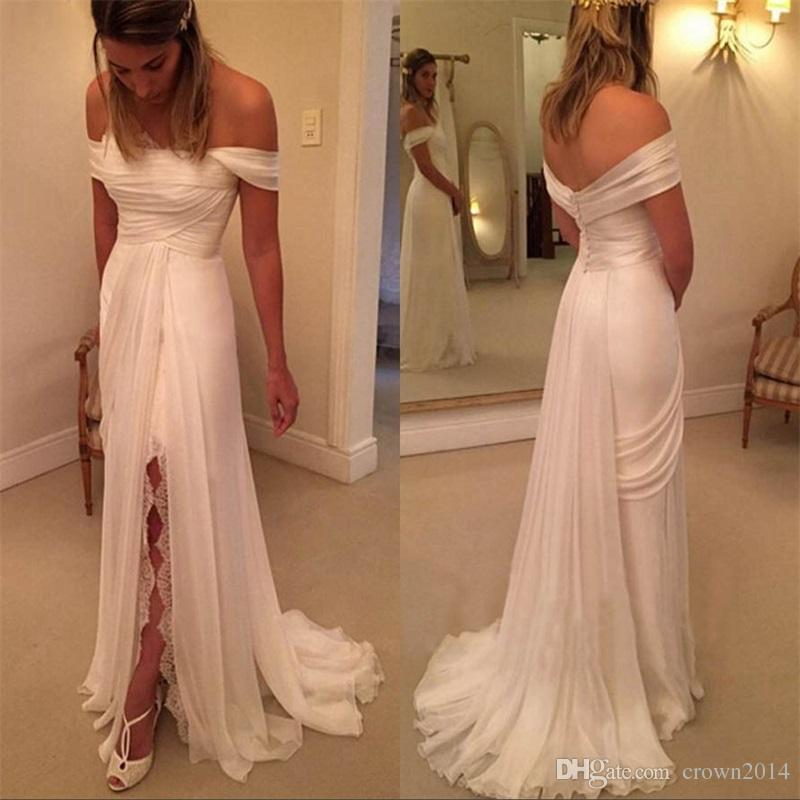 Simple Chiffon Beach Wedding Dress with Lace Slit Strapless Off The Shoulder Long Ruched Sweep Train Empire Plus Size Wedding Gowns Cheap