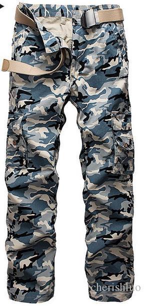 Moda Primavera 2017 Otoño hombres rectos de los pantalones de algodón camuflaje camuflaje de Carga Militar del Ejército táctico Multi Pocket Pantalones holgados