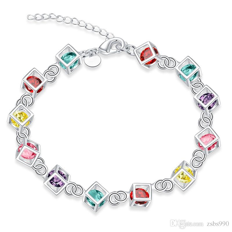 100新しい高品質8インチロング925銀色のinlaid石ブレスレットファッションの女の子ジュエリー送料無料