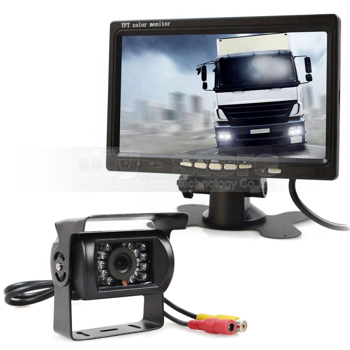 DC12V - 24V 반전 시스템 7 인치 TFT LCD 자동차 모니터 + IR 야간 투시경 후면보기 CCD 카메라 + 원격 제어