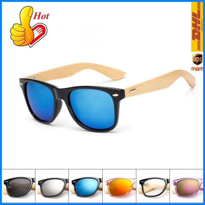 Moda Güneş Gözlüğü Bambu Ahşap Çerçeve Güneş Gözlüğü Erkekler Kadınlar Radyasyon Koruma Renkli Güneş Gözlükleri Ucuz Sıcak Satış Yüksek Kalite Acc244 DHL