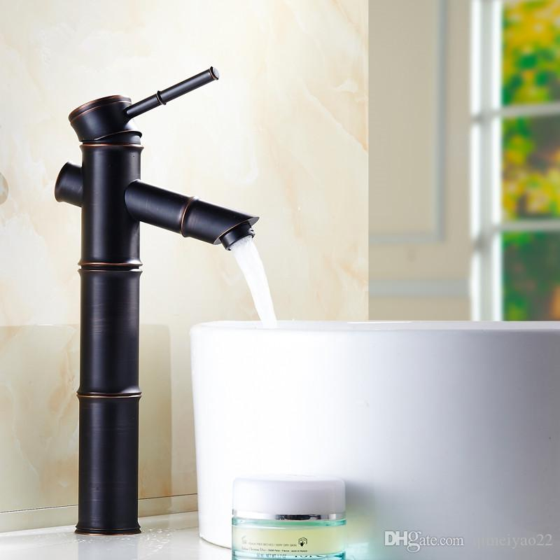 European Style Black Basin Faucets Antique Bamboo Single Hole Water Mixer Tap Art Hot and Cold Water Bathroom Sink Faucet Deck Mounted