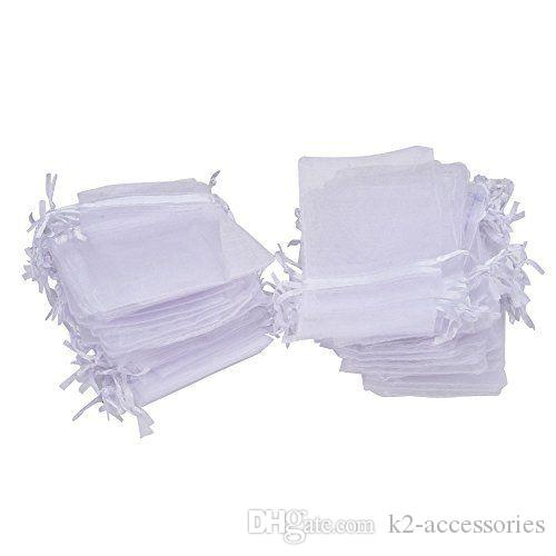 100pcs/lot 7x9cm 9x12cm White Organza Jewelry Gift Pouch drawstring Bags For Wedding favors,beads,jewelry