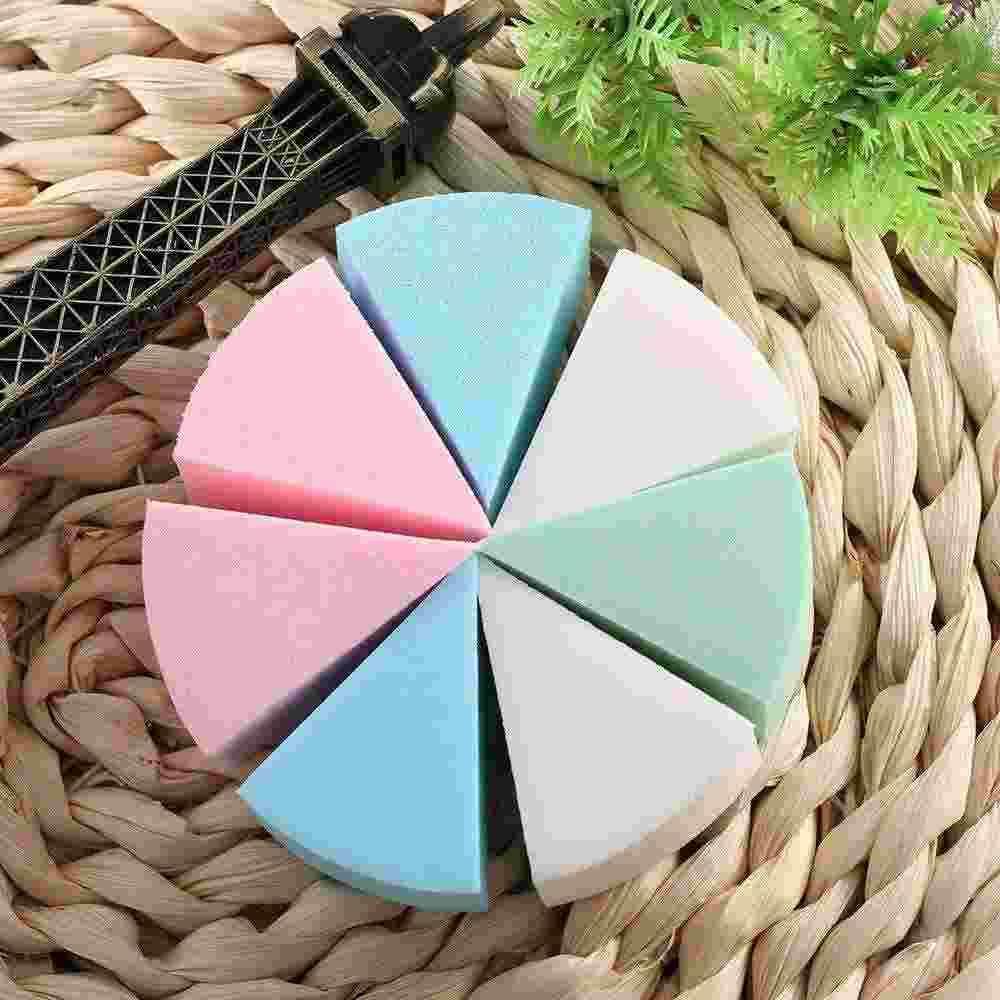 8pcs треугольник образный конфеты цвет мягкая магия лица очистки Pad слоеного косметические Puff чистки губки мыть лицо макияж очаровательный