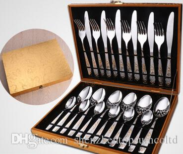 24pcs / set nouvelle arrivée Vaisselle Gold Plate Set Couverts Set Vaisselle Couverts Set avec boîte-cadeau