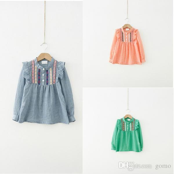 Güzel Çocuk Kız Fırfır Işlemeli Üstleri Tişörtlerin Uzun Kollu T-Shirt 1-6Y