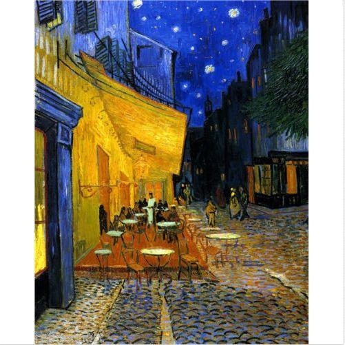 Çerçeveli Saf Handpainted Van Gogh CAFE TERRACE Ince Soyut Manzara Sanat Yağlıboya resim, Yüksek Kaliteli Tuval Ev Duvar Dekoru üzerinde Çoklu boyutları