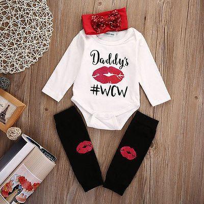 Wholesale- 3Pcs/Set Newborn Infant Baby Boys Girls Long Sleeve Lip Romper + Stockings +Headband 3pcs Outfits Set Autumn Sunsuit Clothes