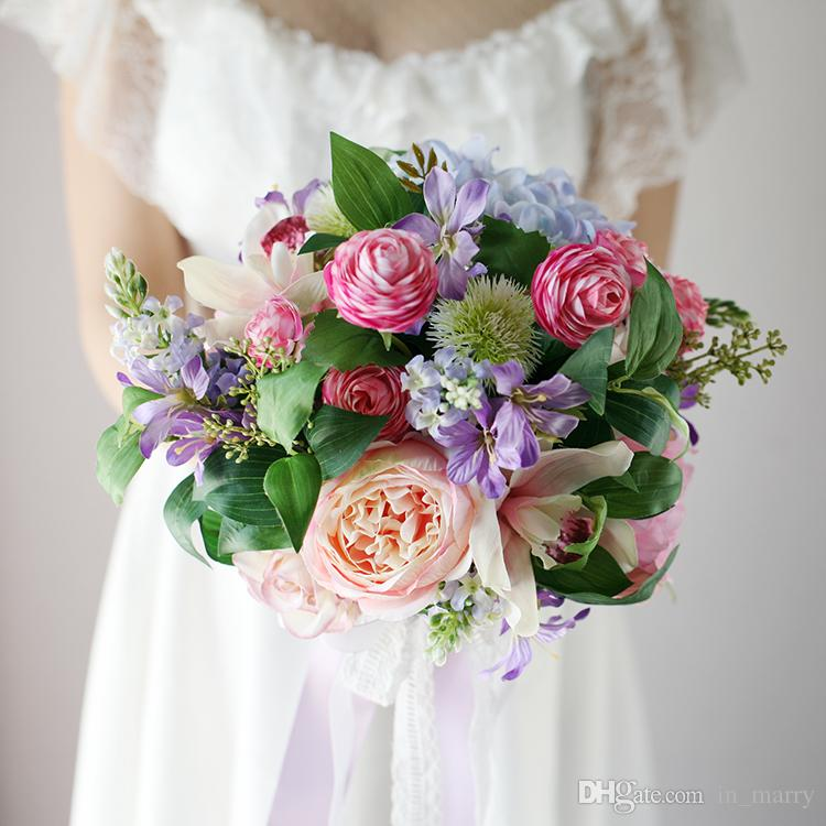 Vintage Pink Artificial Wedding Bridal Bouquet 2017 Rose Peony ...