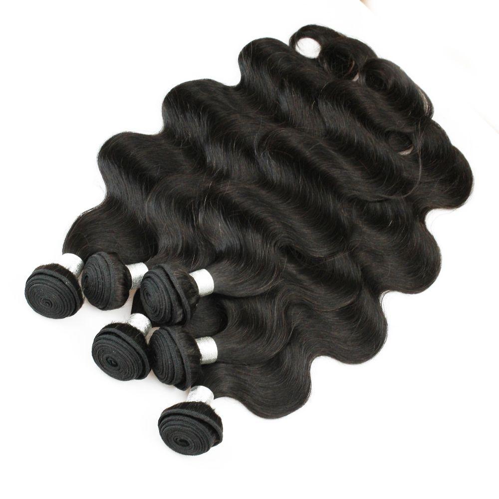 6 Bündel Körperwelle Haarwebart Großhandel Natürliche braune unverarbeitete brasilianische peruanische kambodsche malaysische rohe jungfrau indische menschliche haare